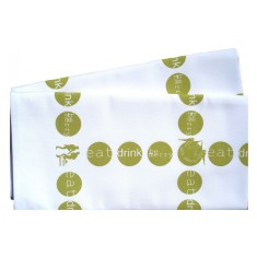 Eat Drink Be Merry and Dance Napkins in green