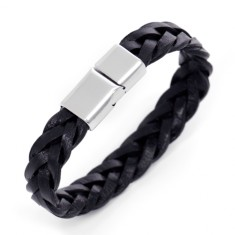 Men's cable leather bracelet