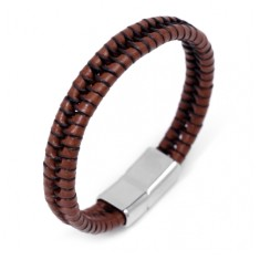 Men's brown leather braided bracelet