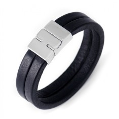 Men's double strand leather bracelet