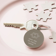 Personalised Love You To Pieces Anniversary Keyring