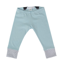 Japanese style cotton play pants with organic cotton trim in diamond blue