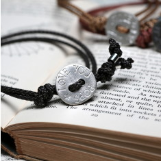 Men's personalised silver button bracelet