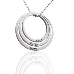 Set of 3 large personalised sterling silver circles