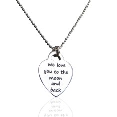 We love you to the moon and back sterling silver heart pendant and chain