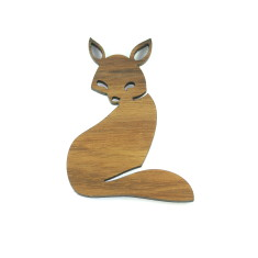 Hunter timber Fox brooch