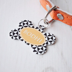 Personalised pet name ID tag bone pinwheel