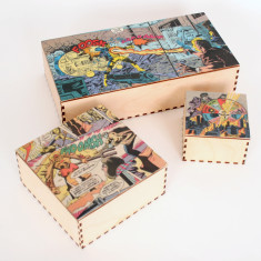Superhero comic strip box
