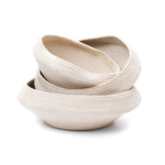 Jute bowls in cream (set of 3)
