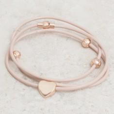 Alessia heart charm & leather triple wrap bracelet (various colours)