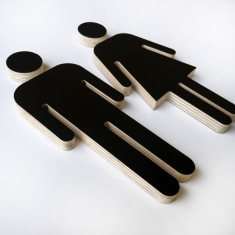 Male/female reversible black & white plywood sign