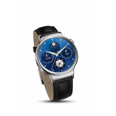 Huawei smart watch in stainless steel case with leather strap