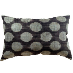 Silk & velvet Turkish ikat cushion in silver/blue dots