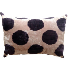 Silk & velvet Turkish ikat cushion in black/purple dots