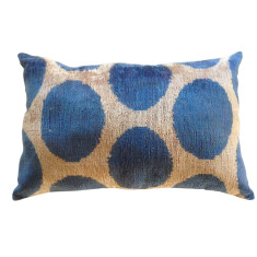 Silk & velvet Turkish ikat cushion in big blue spots