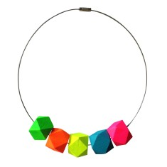 Neon geometric bead necklace