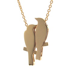 Yellow gold 2 finches pendant