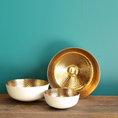 Copenhagen low bowl in white/gold (various sizes)