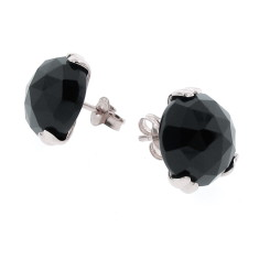 Sterling silver Era black onyx ear studs