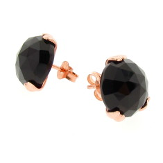Rose gold Era black onyx earstuds