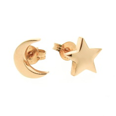 Gold baby moon and star stud earrings