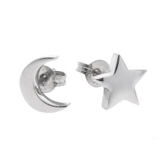 Sterling silver baby moon and star stud earrings