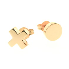 Gold baby kiss and hug stud earrings