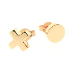Gold baby kiss and hug stud earrings