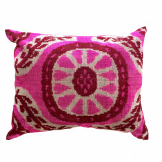 Turkish ikat cushion in cerise and crimson floral