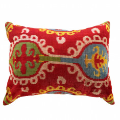 Turkish ikat cushion in cherry red ethnic