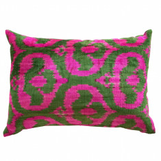 Turkish ikat cushion in cerise and grass green