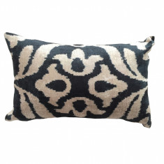 Turkish ikat cushion in black flower