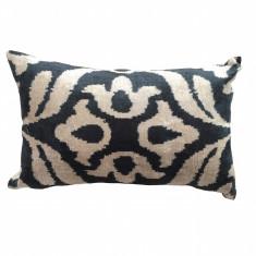 Turkish ikat cushion in black flower