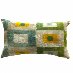 Turkish ikat cushion in summer squares design