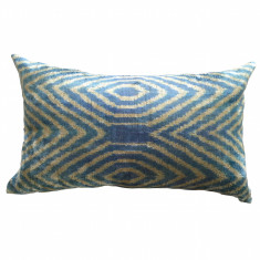 Turkish ikat cushion in sky blue diamonds