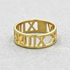 Gold-plated Roman numeral ring