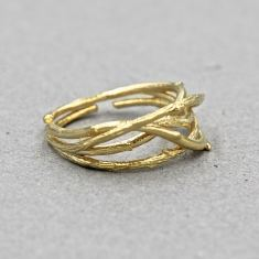 Rustic branch ring in gold