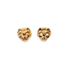 Gold-plated cat stud earrings