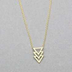 Stacked triangle arrow necklace in gold