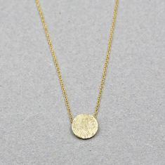 Brushed circle necklace in gold