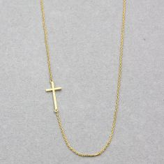 Sideway cross necklace in gold