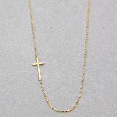 Sideway cross necklace in gold