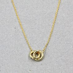 Knotted ring necklace in gold