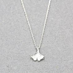 Ginkgo leaf necklace in silver