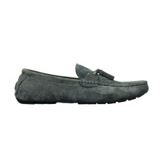 Buckle dark grey suede men's loafers