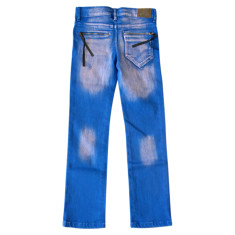 Electric blues slim zipper jeans
