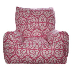 Pink damask bean bag chair cover