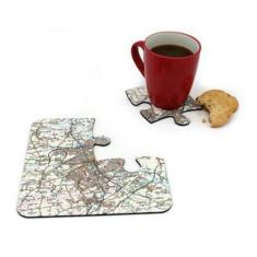 Customised UK map jigsaw coasters (choose your location)
