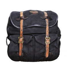 Blue Jerome vintage wash canvas and leather backpack