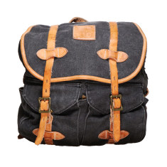 Anthracite grey canvas army vintage backpack
